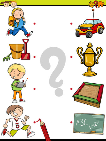 Cartoon Illustration of Education Element Matching Game for Preschool Children with Animals and their Favorite Food Vector