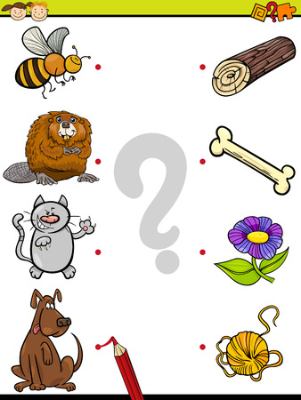 correspond: Cartoon Illustration of Education Element Matching Game for Preschool Children with Animals and their Favorite Food Illustration