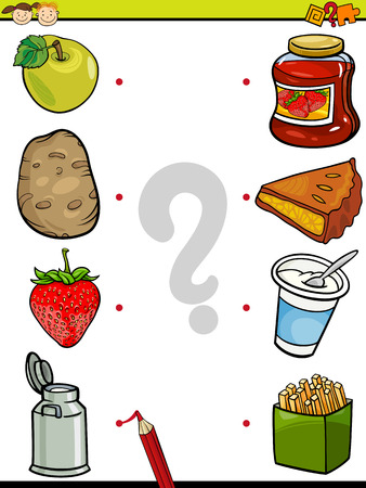 cartoon apple: Cartoon Illustration of Education Element Matching Game for Preschool Children with Animals and their Favorite Food Illustration
