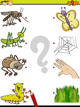 Cartoon Illustration of Education Element Matching Game for Preschool Children with Insects