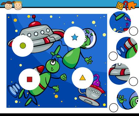 preschool child: Cartoon Illustration of Match the Pieces Educational Game for Preschool Children