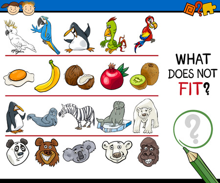 Cartoon Illustration of Finding Improper Item Educational Game for Preschool Children Ilustracja