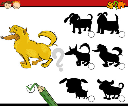 preliminary: Cartoon Illustration of Education Shadow Matching Game for Preschool Children Illustration