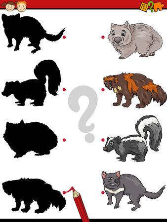 wombat: Ejemplo de la historieta de la sombra Educación juego de las coincidencias de para niños en edad preescolar