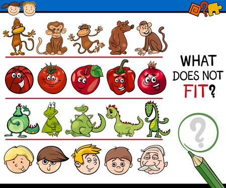 mental object: Cartoon Illustration of Finding Improper Item Educational Game for Preschool Children Illustration