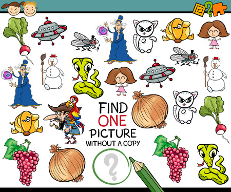 single child: Cartoon Illustration of Finding Single Picture without a Pair Educational Game for Preschool Children Illustration