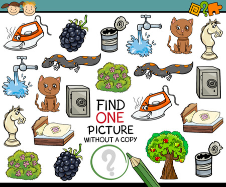 Cartoon Illustration of Finding Single Picture without a Pair Educational Game for Preschool Children Ilustração