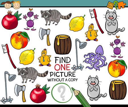 Cartoon Illustration of Finding Single Picture without a Pair Educational Game for Preschool Children Vettoriali