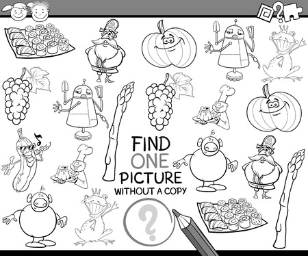 preschool: Black and White Cartoon Illustration of Finding Single Picture without Copy Educational Game for Preschool Children Illustration