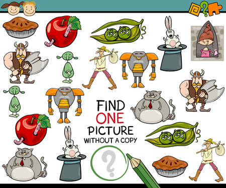 single object: Cartoon Illustration of Finding Single Picture without a Pair Educational Game for Preschool Children Illustration