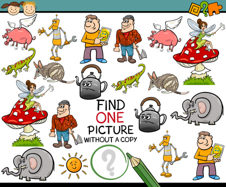 once person: Cartoon Illustration of Finding Single Picture without a Pair Educational Game for Preschool Children Illustration