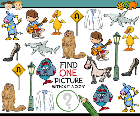 single person: Cartoon Illustration of Finding Single Picture without a Pair Educational Game for Preschool Children Illustration