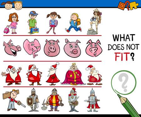 Cartoon Illustration of Finding Improper Item Educational Game for Preschool Children Vectores