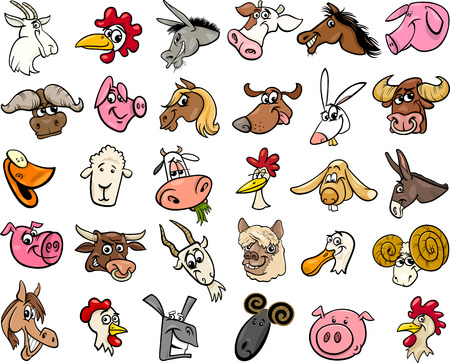 Cartoon Illustration of Funny Farm Animals Heads Big Set Vector
