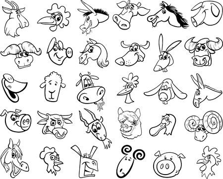 Schwarz-Weiß-Karikatur Illustration Der Farm Animals Tier Charaktere ...