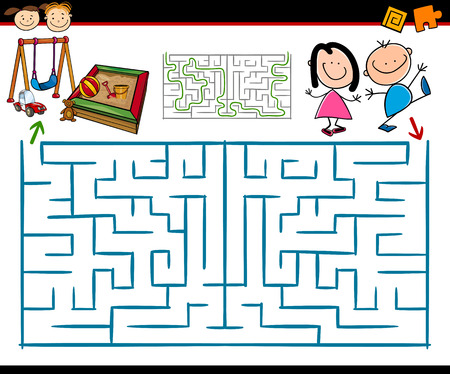 Cartoon Illustration of Education Maze or Labyrinth Game for Preschool Children with Playground Vettoriali