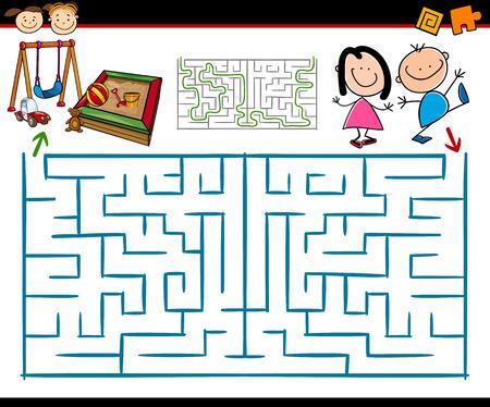Cartoon Ilustración de laberinto Educación o Laberinto Juego para niños en edad preescolar con Zona de juegos