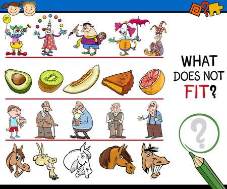 teaser: Cartoon Illustration of Finding Improper Item Educational Game for Preschool Children Illustration