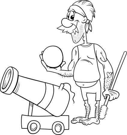 cannonball: Black and White Cartoon Illustration of Funny Pirate Character with Cannon and Cannonball for Coloring Book Illustration