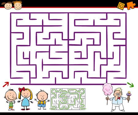 laberinto: Cartoon Ilustraci�n de laberinto Educaci�n o Laberinto Juego para ni�os en edad preescolar con Zona de juegos