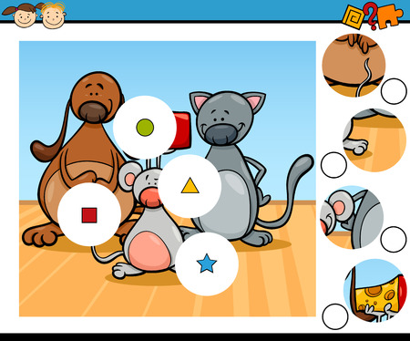 brain teaser: Cartoon Illustration of Match the Pieces Educational Game for Preschool Children