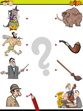 correspond: Cartoon Illustration of Education Element Matching Game for Preschool Children