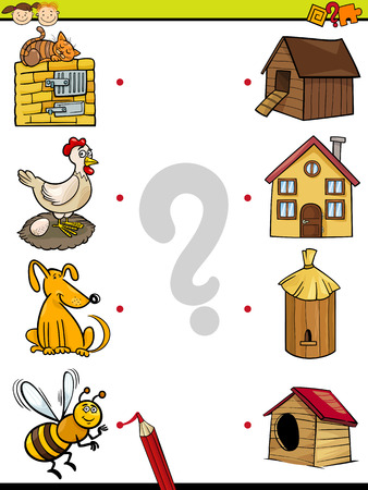 Cartoon Illustration of Education Element Matching Game for Preschool Children with Animals 일러스트