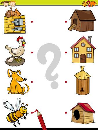 Cartoon Illustration of Education Element Matching Game for Preschool Children with Animals Illustration
