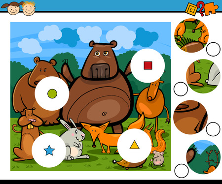 Cartoon Illustration of Match the Pieces Educational Game for Preschool Children