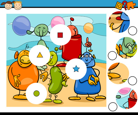 teaser: Cartoon Illustration of Match the Pieces Educational Game for Preschool Children