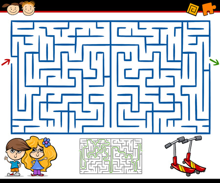 Cartoon Illustration of Education Maze or Labyrinth Game for Preschool Children with Playground Ilustração