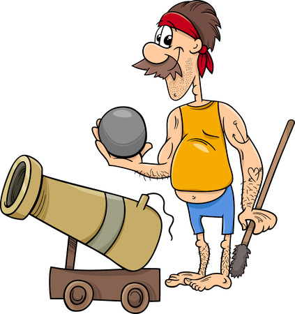 cannonball: Cartoon Illustration of Funny Pirate Character with Cannon and Cannonball Illustration