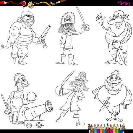 cannon ball: Coloring Book Cartoon Illustration of Funny Fantasy Pirates Characters Set