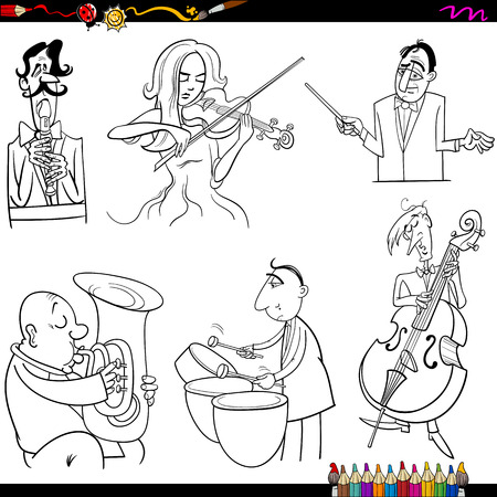 contra bass: Coloring Book Cartoon Illustration of Musicians Playing Musical Instruments Characters Set