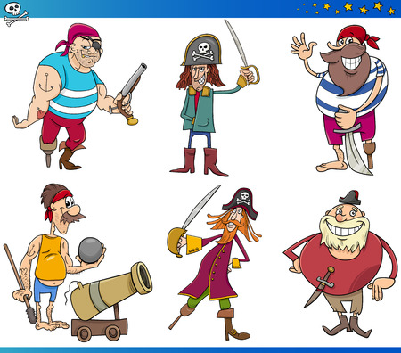cannon ball: Cartoon Illustrations Set of Fairy Tale or Fantasy Pirates Characters Illustration
