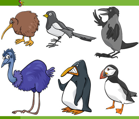 Cartoon Illustration of Funny Birds Set Illustration