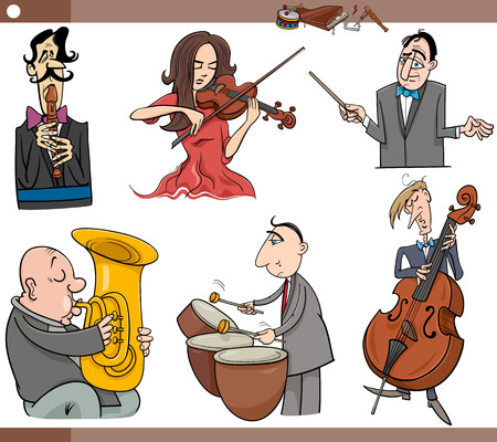 contrabass: Cartoon Illustration Set of Musicians Characters Playing Musical Instruments