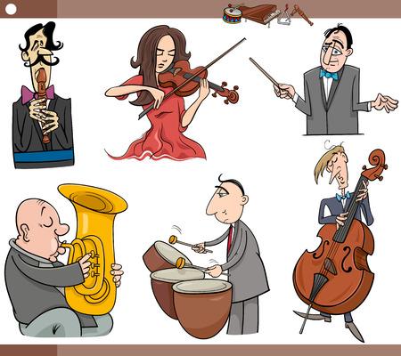 instrumentos musicales: Ejemplo de la historieta Conjunto de Músicos Personajes tocan los instrumentos musicales Vectores