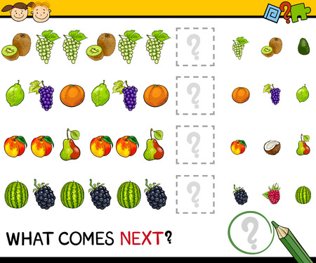 Cartoon Illustration of Completing the Pattern Educational Game for Preschool Children Vectores
