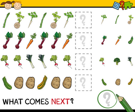 next to: Cartoon Illustration of Completing the Pattern Educational Game for Preschool Children Illustration