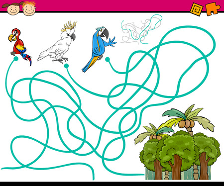 Cartoon Illustration of Education Paths or Maze Game for Preschool Children with Parrots Birds