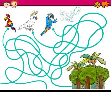 guacamaya caricatura: Cartoon Ilustración de Caminos Educación o Laberinto Juego para niños en edad preescolar con Loros Pájaros Vectores