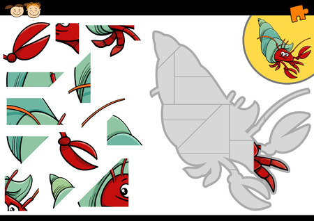 children crab: Cartoon Illustration of Education Jigsaw Puzzle Game for Preschool Children with Funny Hermit Crab Sea Animal Character