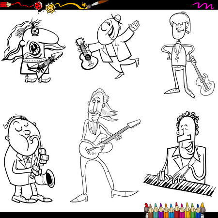 Coloring Book Cartoon Illustration of Musicians Playing Musical Instruments Characters Set Vector