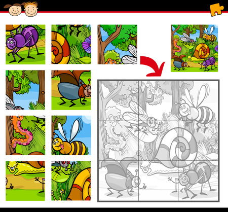 cartoon snail: Cartoon Illustration of Education Jigsaw Puzzle Game for Preschool Children with Insects Animals Characters Group