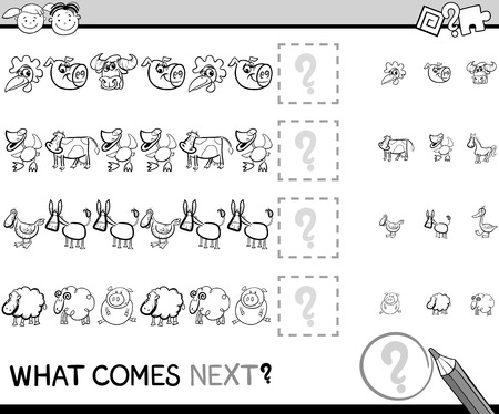 next to: Black and White Cartoon Illustration of Completing the Pattern Educational Game for Preschool Children with Farm Animals