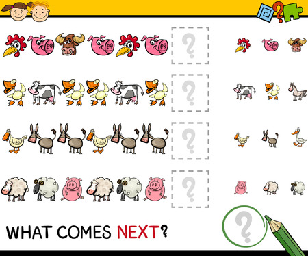 next to: Cartoon Illustration of Completing the Pattern Educational Game for Preschool Children with Farm Animals Illustration