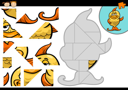 jigsaw pieces: Cartoon Illustration of Education Jigsaw Puzzle Game for Preschool Children with Funny Gold Fish Animal Character Illustration