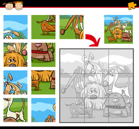child and dog: Cartoon Illustration of Education Jigsaw Puzzle Game for Preschool Children with Dogs Animals Characters Group
