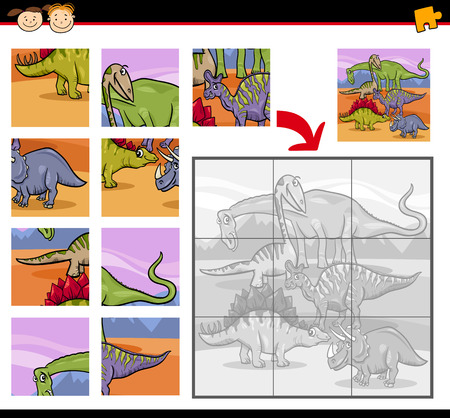 jigsaw puzzle pieces: Cartoon Illustration of Education Jigsaw Puzzle Game for Preschool Children with Insects Dinosaurs Characters Group